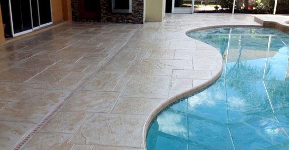stamped concrete pool deck Austin